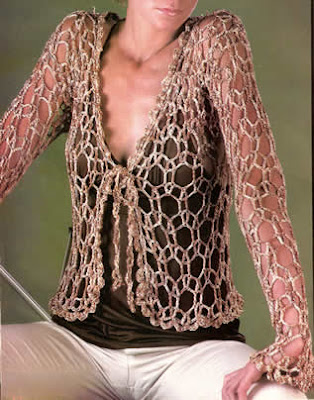 Saco o chaleco calado tejido a crochet talla 44
