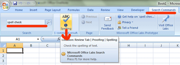 quick find commands in office 2007