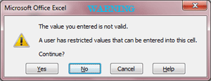 Data Validation Warning