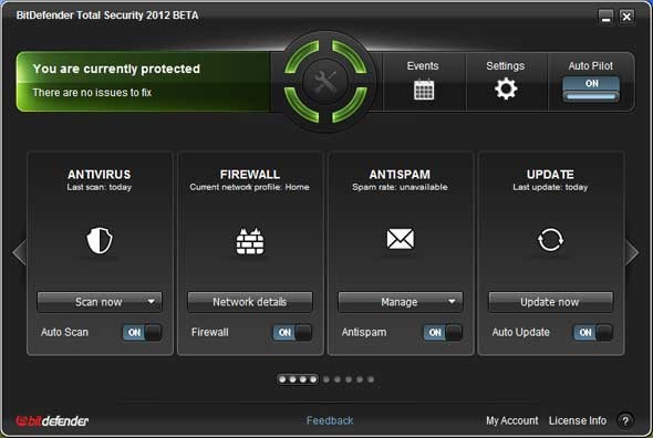 BitDefender Total Security 2012 Beta Home Screen
