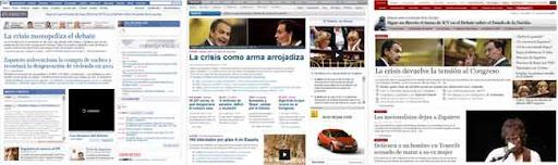 Las portadas digitales de tres periódicos españoles