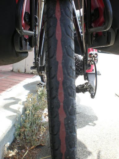 Severely worn tires after 4,263 miles on them. Will replace in San Francisco before continuing down the coast.