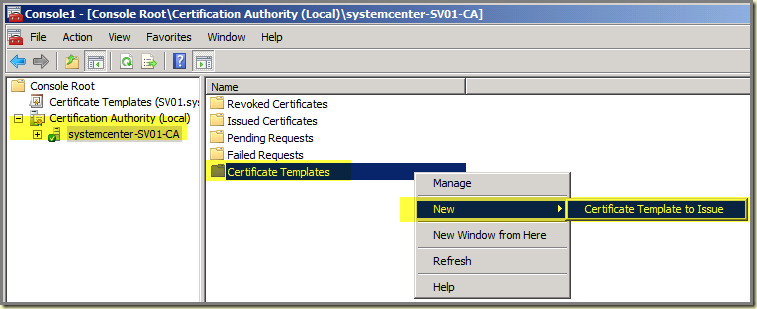 Thoughts on azure oms scom windows server 2008 r2 ca scom in the mmc go to certification authority collapse this node click with right mouse button on certificate templates new certificate template to yadclub Images