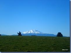 Campos verdes, céu azul e vulcões