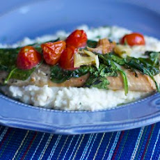 "Tomato & Spinach Baked Tilapia with Mashed ""Caulitaters"""