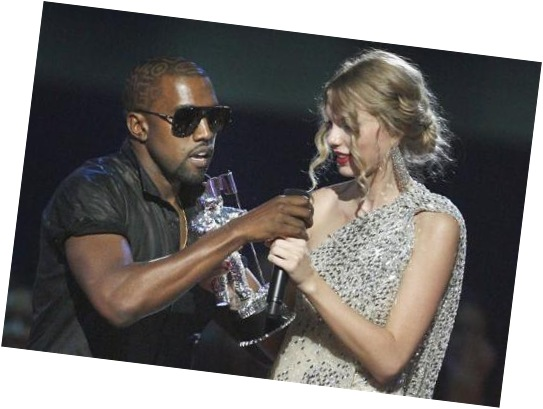 kayne west takes mic from taylor swift