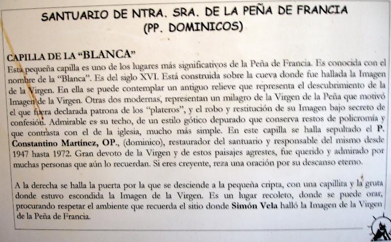 Texto de los monjes dominicos de la Peña de Francia en referencia al Santuario