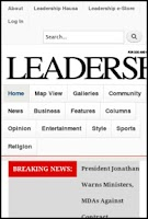 Screenshot of Leadership Newspapers