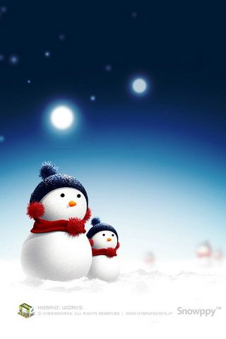 Cute Snowman Picture iPhone Wallpaper