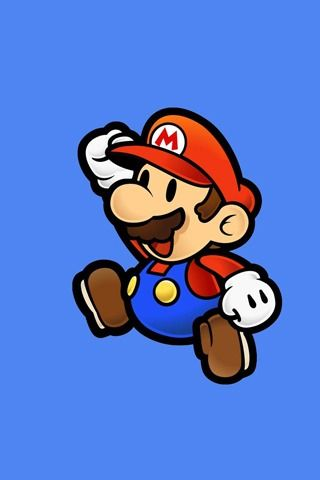 Super Mario on Blue Background iPhone Wallpaper
