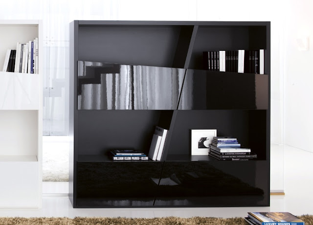 Diagonally Design of Bookcase with Drawers