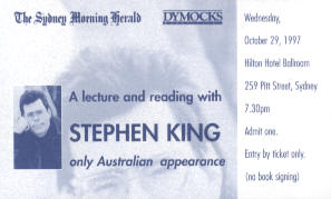 Ticket to Sydney Stephen King reading