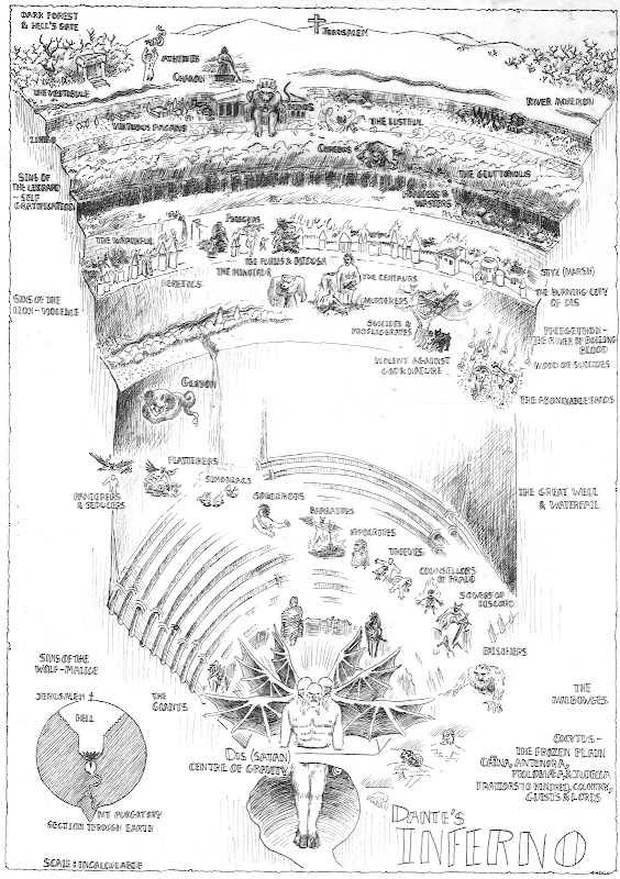 Dante's Inferno, map by David Carroll and Daniel Heald.