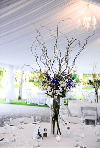 blue and gold wedding centerpieces