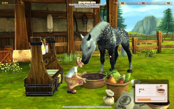 Alicia Online / Project Alice horse racing game - horse feeding in progress