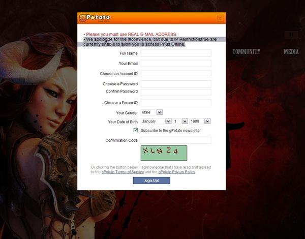 Prius Online registration denied due to IP block