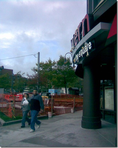 Tavern in the Square, outdoor seating area under construction
