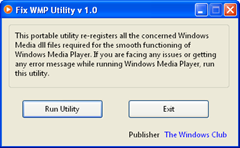 Fix Windows Media Player Problems With Fix WMP Utility