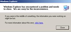 Windows Explorer encountered a problem