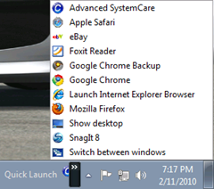 Qucik Launch bar in Windows 7