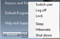 Restart button in place of Shutdown