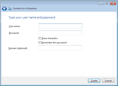 VPN conenction username and password