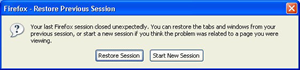 firefox -restore previous session