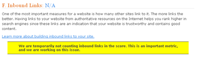 inbound links not counting message from website grader