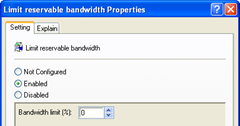 limit reservable bandwidth enable 0