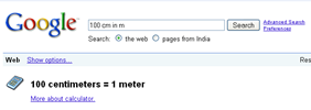 unit conversions in Google