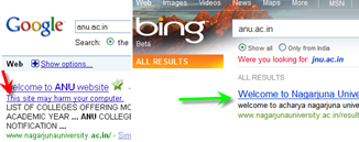 comparsion of Google and Bing detecting malware sites