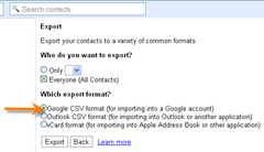exporting contacts in Gmail