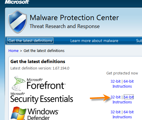 update microsoft security essentials windows 7