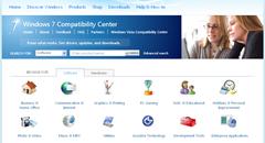 Windows 7 compatibility center homepage