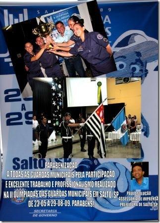 AGRADECIMENTOS PELA PARTICIPAÇÃO NA II OLIMPÍADAS DAS GUARDAS MUNICIPAIS NA PREMIAÇÃO DAS OLIMPÍADAS DIA 19-11-09
