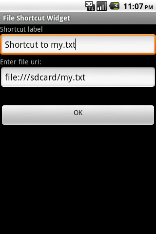 File Shortcut Widget