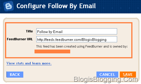 Configure Follow By Email Blogger Gadget