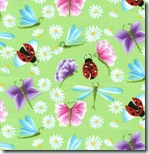 Happy Flowers - Daisies & Insects Green #DD31Green