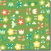 Girl Friday - Flowers & Butterflies Green #4271-G