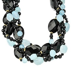 black onyx and blue chalcedony necklace