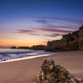 One small step at a time by Ricardo Belela - Landscapes Beaches ( sand, sunset, algarve, sea, rock, beach, portugal, rocks )