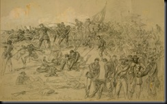 Sketch of Barlow's men seizing Confederate works