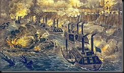 Porter's Fleet running the guns at Vicksburg