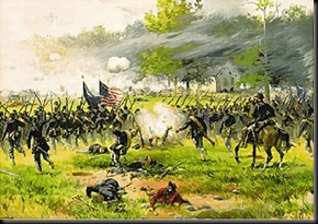 Union troops assault Lee's left flank