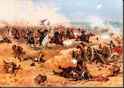 Merritt and Averell's charge on the Confederate left flank