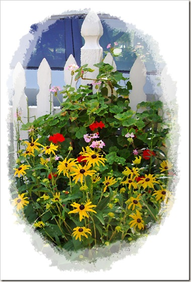 picket fence with flowers