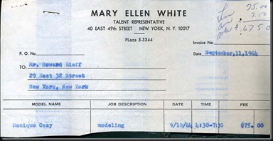 Mary Ellen White-Pay Slip-1964