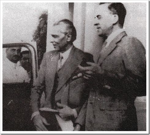 Cripps escorts the Founder to his car in 1942