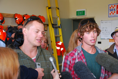 Ryan Hurley and Harry Wild at search base in Lorne