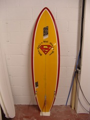 Will's NS Surfboard with custom superman logo